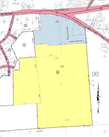 Dunning property in yellow. Grace Chapel property in blue.