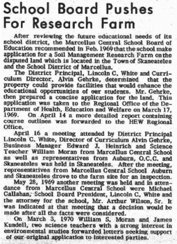 1970-Mar-26 Marcellus Observer - School Board Pushes for Research Farm