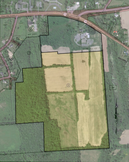 Tax map of Dunning tract overlaid onto a satelite image of the area