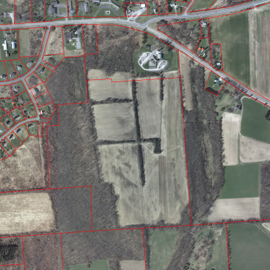 Dunning Tract, April 3, 2012, with 2014 property lines in red.