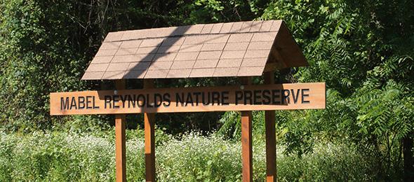 Mabel M. Reynolds Nature Preserve sign