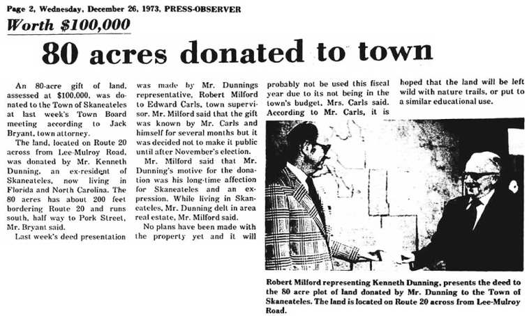 1973 Press-Observer article reporting the donation of the Kenneth Dunning property to the town of Skaneateles.