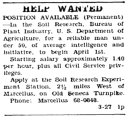 Marcellus Observer 1953-03-27 Help Wanted Soil Research Exp Station