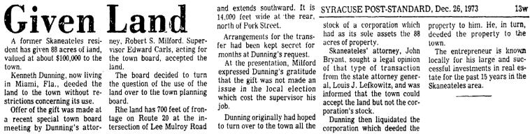 Syracuse Post-Standard 26 Dec 1973 Dunning Land
