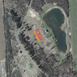 Approximate location of redcedar (orange) and whitecedar (red) planting, April 2015.